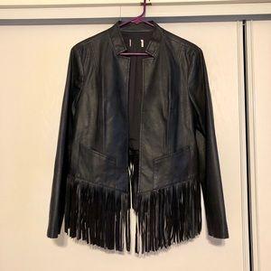 Chico's faux leather fringe lightweight jacket SzL